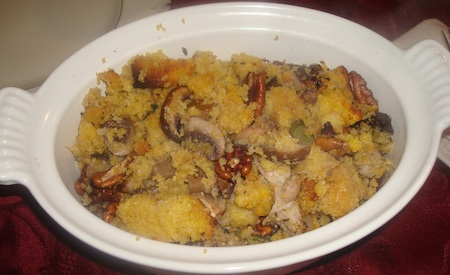 Corn Bread, Wild Mushrooms and Pecan Stuffing