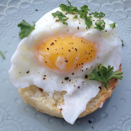 Perfectly poached eggs on an English Muffin